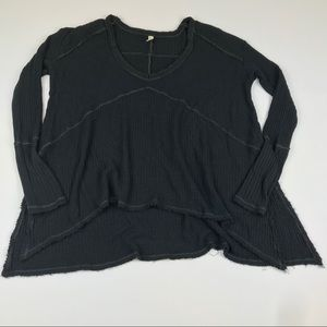 Free People long sleeve waffle knit thermal top
